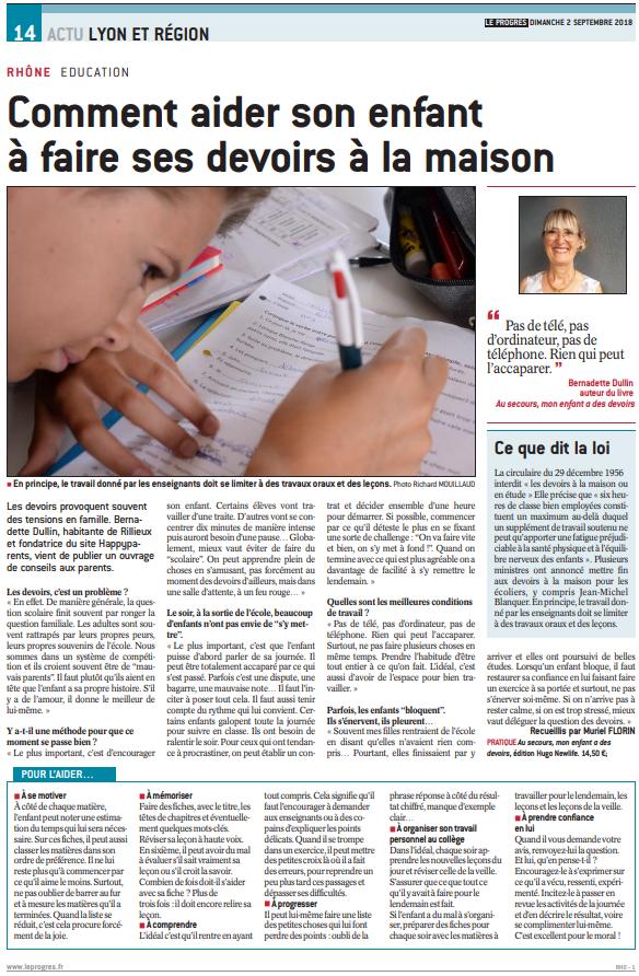 Article Le Progrès Bernadette Dullin Les devoirs à la maison