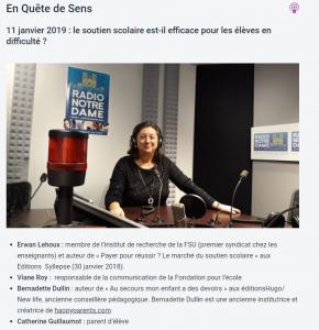 Bernadette sur Radio Notre Dame aec un parent